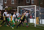 Marine 1 Hyde United 0, 12/12/2020. Marine Travel Arena, FA Trophy First Round. The home team's David Raven in action during the first-half as Marine play Hyde United (in white) in an FA Trophy first round tie at the Marine Travel Arena, formerly known as Rossett Park, in Crosby. Due to coronavirus regulations which had suspended league games, the Merseysiders' only fixtures were in cup competitions, including their forthcoming tie against Tottenham Hotspur in the FA Cup third round. Marine won the game by 1-0, watched by a permitted capacity of 400, with the visitors having two men sent off in the second half. Photo by Colin McPherson.