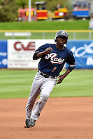 Didi Gregorius (1) of the Reno Aces hustles towards third base against the Salt Lake Bees at Smith's Ballpark on May 5, 2014 in Salt Lake City, Utah.  (Stephen Smith/Four Seam Images)