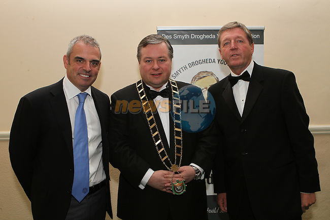 Mayor of Drogheda Paul Bell with European Ryder Cup Captain Paul McGinley and Des Smyth at the Des Smyth Foundation Ball in the Boyne Valley Hotel, Drogheda...(Photo credit should read Jenny Matthews/NEWSFILE)...
