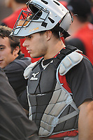 Josh Phegley Catcher Kannapolis Intimidators (Chicago White Sox) talks with teamates at McCormick Field August 13, 2009 in Asheville, NC (Photo by Tony Farlow/Four Seam Images)
