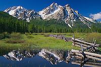 Pole fence and McGown Peak<br />   from meadow near Stanley Lake<br /> Sawtooth National Recreation Area<br /> Sawtooth Mountains, Idaho