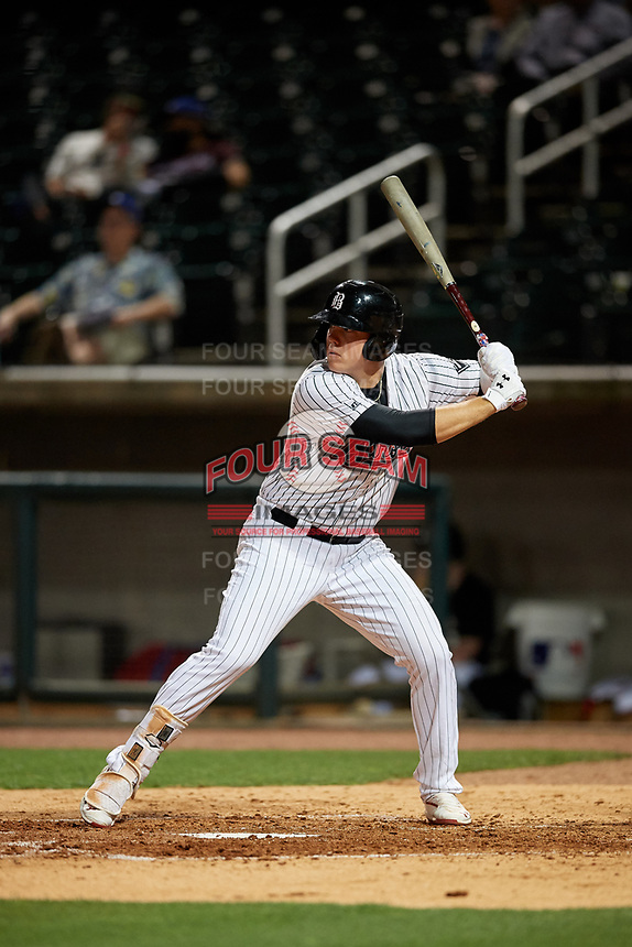 Birmingham Barons Gavin Sheets (24) at bat during a Southern League game against the Chattanooga Lookouts on May 1, 2019 at Regions Field in Birmingham, Alabama.  Chattanooga defeated Birmingham 5-0.  (Mike Janes/Four Seam Images)