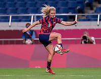 SAITAMA, JAPAN - JULY 24: Lindsey Horan #9 of the USWNT controls the ball during a game between New Zealand and USWNT at Saitama Stadium on July 24, 2021 in Saitama, Japan.