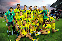 Bronze medallists Australia on day two of the 2018 HSBC World Sevens Series Hamilton at FMG Stadium in Hamilton, New Zealand on Saturday, 3 February 2018. Photo: Dave Lintott / lintottphoto.co.nz