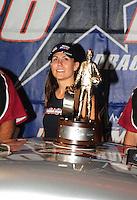Jun. 19, 2011; Bristol, TN, USA: NHRA pro mod driver Melanie Troxel celebrates after winning at the Thunder Valley Nationals at Bristol Dragway. Mandatory Credit: Mark J. Rebilas-US
