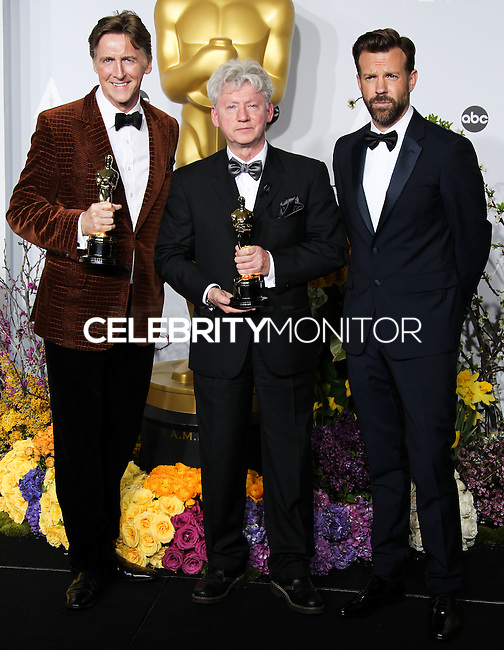 HOLLYWOOD, LOS ANGELES, CA, USA - MARCH 02: Nicholas Reed, Malcolm Clarke, Jason Sudeikis at the 86th Annual Academy Awards - Press Room held at Dolby Theatre on March 2, 2014 in Hollywood, Los Angeles, California, United States. (Photo by Xavier Collin/Celebrity Monitor)