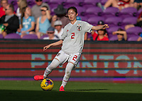 ORLANDO, FL - MARCH 05: Risa Shimizu #2 of Japan passes the ball during a game between Spain and Japan at Exploria Stadium on March 05, 2020 in Orlando, Florida.