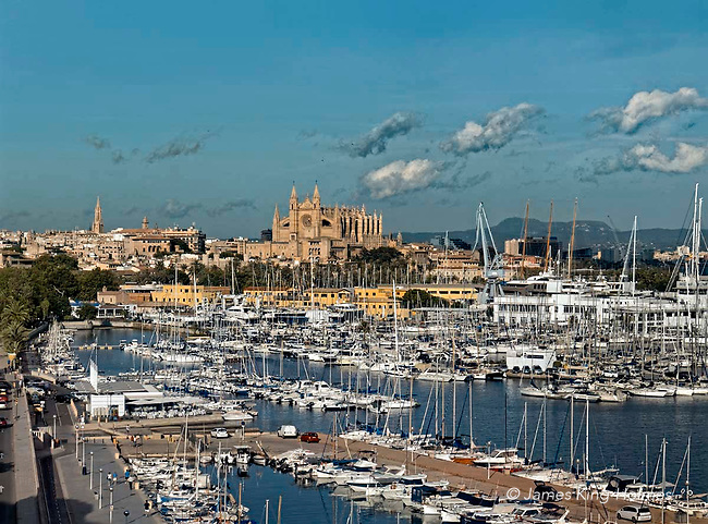 The Cathedral of Palma de Mallorca dominates the city, seen from the marina area,