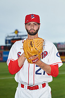 Spokane Indians pitcher Billy Layne Jr. (21) poses for a photo before a Northwest League game against the Hillsboro Hops at Avista Stadium on August 23, 2019 in Spokane, Washington. Hillsboro defeated Spokane 8-2. (Zachary Lucy/Four Seam Images)
