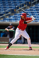 Clearwater Threshers first baseman Darick Hall (21) at bat during a game against the Lakeland Flying Tigers on May 2, 2018 at Spectrum Field in Clearwater, Florida.  Clearwater defeated Lakeland 7-5.  (Mike Janes/Four Seam Images)
