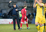 Ross County v St Johnstone…18.02.17     SPFL    Global Energy Stadium, Dingwall<br />Tommy Wright punches the air at full time<br />Picture by Graeme Hart.<br />Copyright Perthshire Picture Agency<br />Tel: 01738 623350  Mobile: 07990 594431