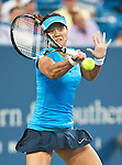 Li Na of China wins in the semifinals at the Western & Southern Open in Mason, OH on August 18, 2012.
