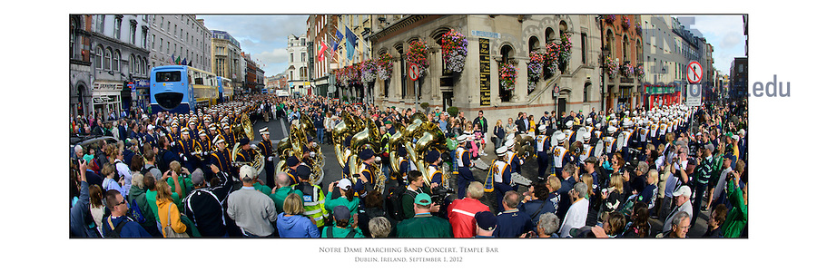 Sept. 1, 2012; Notre Dame Marching Band parade and concert through Temple Bar, Dublin...Photo by Matt Cashore/University of Notre Dame