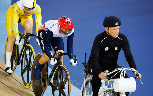 03 AUG 2012 - LONDON, GBR - Victoria Pendleton (GBR) of Great Britain follows the derny during her first round race of the Women's Keirin during the London 2012 Olympic Games track cycling in the Olympic Park Velodrome in Stratford, London, Great Britain .(PHOTO (C) 2012 NIGEL FARROW)