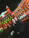 Lisa and Richard Elsinger stand in front of the Denver City and County building on Monay, Dec. 1, 2008.  Last year, he proposed to her in front of the building during the Parade of Lights.  They got married in August.   (ELLEN JASKOL/ROCKY MOUNTAIN NEWS)