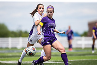 Bella Kieklak (17) of Fayetteville gets the ball against Mt. Saint Mary's Academy (Also scored first goal of game) at Wildcat Stadium, Springdale, Arkansas, Friday, May 14, 2021 / Special to NWA Democrat-Gazette/ David Beach