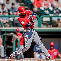 25 February 2019: Washington Nationals infielder Brandon Snyder in action during a pre-season Spring Training game against the Atlanta Braves at Champion Stadium in the ESPN Wide World of Sports Complex in Kissimmee, Florida. The Braves defeated the Nationals 9-4 in Grapefruit League play in what will be the Braves' last season at the Disney / ESPN Wide World of Sports complex. Mandatory Credit: Ed Wolfstein Photo *** RAW (NEF) Image File Available ***