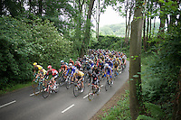 race leader André Greipel (DEU/Lotto-Soudal) cruises in the front of the peloton on the dangerous Dutch roads<br /> <br /> stage 3: Buchten-Buchten (190km)<br /> 29th Ster ZLM Tour 2015