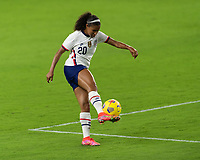 ORLANDO CITY, FL - FEBRUARY 18: Margaret Purce #20 takes a shot during a game between Canada and USWNT at Exploria stadium on February 18, 2021 in Orlando City, Florida.