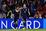 Haraguchi Genki of Japan (R) celebrating his score with Tomiyasu Takehiro of Japan (L) during the AFC Asian Cup UAE 2019 Semi Finals match between I.R. Iran (IRN) and Japan (JPN) at Hazza Bin Zayed Stadium  on 28 January 2019 in Al Alin, United Arab Emirates. Photo by Marcio Rodrigo Machado / Power Sport Images