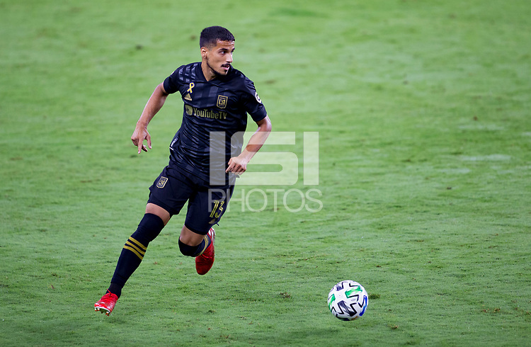 LOS ANGELES, CA - SEPTEMBER 23: Mohamed El-Munir #13 of LAFC dribbles the ball during a game between Vancouver Whitecaps and Los Angeles FC at Banc of California Stadium on September 23, 2020 in Los Angeles, California.