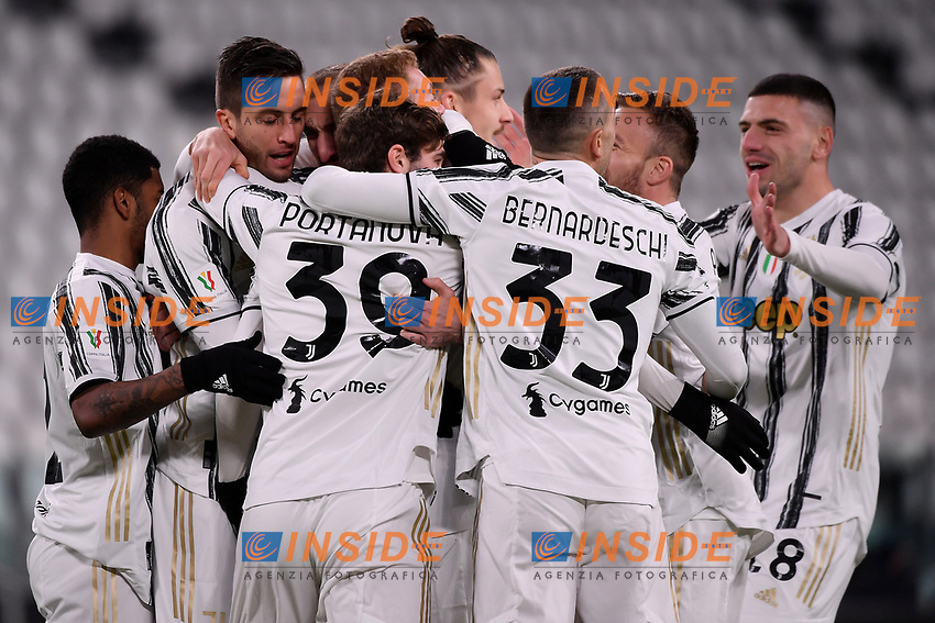 Dejan Kulusevski of Juventus FC celebrates with team mates after scoring the goal of 1-0 during the Italy Cup round of 16 football match between Juventus FC and Genoa CFC at Juventus stadium in Torino (Italy), January 13th, 2021. Photo Federico Tardito / Insidefoto