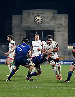 6 March 2021; Marcell Coetzee is tackled by Rhys Ruddock during the Guinness PRO14 match between Ulster and Leinster at Kingspan Stadium in Belfast. Photo by John Dickson/Dicksondigital