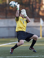 Virginia Tech goalkeeper Kyle Renfro (1) fails to stop a Boston College blast.Boston College (maroon) defeated Virginia Tech (Virginia Polytechnic Institute and State University) (white), 3-1, at Newton Campus Field, on November 3, 2013.