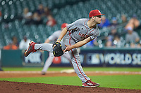 Louisiana Ragin' Cajuns relief pitcher Brock Batty (20) follows through on his delivery against the Kentucky Wildcats in game seven of the 2018 Shriners Hospitals for Children College Classic at Minute Maid Park on March 4, 2018 in Houston, Texas.  The Wildcats defeated the Ragin' Cajuns 10-4. (Brian Westerholt/Four Seam Images)