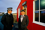 Haroldswick Post Office, on the Island of Unst, in the Shetland Islands. This is the most northerly PO in the UK. 1988. 1980s UK.<br /> <br /> Postmaster Albert Gray passed away in 1990. Mrs Doris Gray carried on as  postmistress until she retired in 1999. Nobody wanted to take on the post office in the community so it actually closed in 1999, seen here with policeman Harry Edwards.
