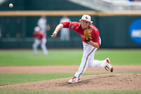 Louisville Cardinals pitcher Michael McAvene (41) delivers a pitch to the plate during Game 7 of the NCAA College World Series against the Auburn Tigers on June 18, 2019 at TD Ameritrade Park in Omaha, Nebraska. Louisville defeated Auburn 5-3. (Andrew Woolley/Four Seam Images)