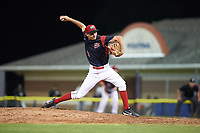 Batavia Muckdogs relief pitcher Kenny Koplove (3) delivers a pitch during a game against the Tri-City ValleyCats on July 15, 2017 at Dwyer Stadium in Batavia, New York.  Tri-City defeated Batavia 5-4.  (Mike Janes/Four Seam Images)