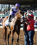 LEXINGTON, KY - April 08, 2017, #6 Irap and jockey Julien Leparoux after winning the 93rd running of the Toyota Blue Grass Grade 2 $1,000,000 for owner Reddam Racing and trainer Doug O'Neill at Keeneland Race Course.  Lexington, Kentucky. (Photo by Candice Chavez/Eclipse Sportswire/Getty Images)