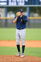 FCL Tigers East pitcher Jose Pina (28) during a game against the FCL Yankees on July 27, 2021 at the Yankees Minor League Complex in Tampa, Florida. (Mike Janes/Four Seam Images)