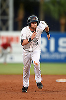 Lakeland Flying Tigers first baseman Bobby Borchering (4) runs the bases during a game against the Palm Beach Cardinals on April 13, 2015 at Joker Marchant Stadium in Lakeland, Florida.  Palm Beach defeated Lakeland 4-0.  (Mike Janes/Four Seam Images)