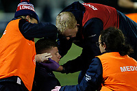 Noah Heward of London Scottish is down with a head injury during the Greene King IPA Championship match between London Scottish Football Club and Nottingham Rugby at Richmond Athletic Ground, Richmond, United Kingdom on 7 February 2020. Photo by Carlton Myrie.