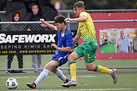 Stanton Renwicks of Petone FC competes for the ball with Harry Bark of Lower Hutt AFC during the Central League Football - Petone FC v Lower Hutt AFC at Petone Memorial Park, Lower Hutt, New Zealand on Friday 2 April 2021.<br /> Copyright photo: Masanori Udagawa /  www.photosport.nz