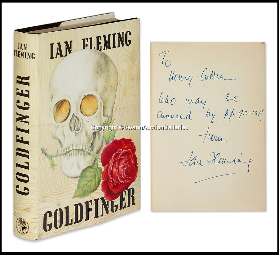 BNPS.co.uk (01202)558833<br /> Pic:  SwannAuctionGalleries/BNPS<br /> <br /> First edition of Goldfinger (1959) given by the author to legendary golfer Sir Henry Cotton, who won The Open three times.<br /> <br /> A single owner collection of historic James Bond first editions inscribed by Ian Fleming have emerged for sale for £55,000. ($70,000)<br /> <br /> The marquee lot is a first edition of Goldfinger (1959) given by the author to legendary golfer Sir Henry Cotton, who won The Open three times.<br /> <br /> Fleming references the chapters containing the classic golf match between Bond and the villain Auric Goldfinger, whose caddy was Oddjob, in the book.<br /> <br /> The collection of 13 books is being sold by a private collector with US based Swann Auction Galleries.