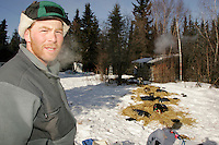 Wednesday March 7, 2007   ----  Zack Steer at his resting spot in the Ophir checkpoint.