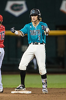 Zach Remillard #7 of the Coastal Carolina Chanticleers celebrates during a College World Series Finals game between the Coastal Carolina Chanticleers and Arizona Wildcats at TD Ameritrade Park on June 28, 2016 in Omaha, Nebraska. (Brace Hemmelgarn/Four Seam Images)
