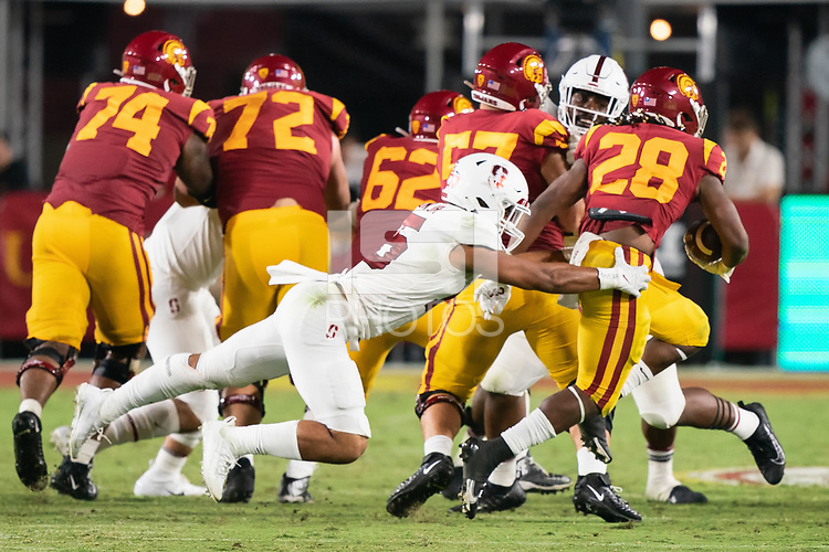 LOS ANGELES, CA - SEPTEMBER 11: Stephen Herron during a game between University of Southern California and Stanford Football at Los Angeles Memorial Coliseum on September 11, 2021 in Los Angeles, California.