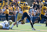 Darian Hagan wraps up Kevin Prince for the sack. The California Golden Bears defeated the UCLA Bruins 35-7 at Memorial Stadium in Berkeley, California on October 9th, 2010.