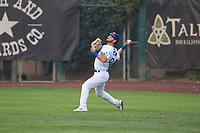 Ogden Raptors right fielder Matt Cogen (49) throws to the infield during a Pioneer League game against the Great Falls Voyagers at Lindquist Field on August 23, 2018 in Ogden, Utah. The Ogden Raptors defeated the Great Falls Voyagers by a score of 8-7. (Zachary Lucy/Four Seam Images)