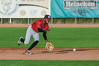 D.J. Burt (1) the Idaho Falls Chukars second baseman fields the grounder against the Ogden Raptors in Pioneer League action at Lindquist Field on August 26, 2015 in Ogden, Utah. Ogden defeated the Chukars 5-1.  (Stephen Smith/Four Seam Images)