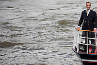 """Nigel Farage MEP (English Politician, Leader of UKIP and Member of the European Parliament).<br /> <br /> London, 15/06/2016. Today, the River Thames outside the Houses of Parliament was the stage of an epic """"naval battle"""" between the """"Brexit Flotilla"""", lead by the UKIP leader Nigel Farage MEP, and the """"In Flotilla"""", lead by the Irish singer-songwriter Bob Geldof KBE. Nigel Farage MEP lead a flotilla of fishing trawlers from Southend in Essex sailing to the River Thames in front of the British Parliament to call for the UK's withdrawal from the EU and to repossess """"our water back"""". The protest and the counter protest were set to coincide with Prime Minister David Cameron question time.<br /> <br /> For more information about the """"Leave the EU"""" campaigns (for Brexit) please click here:  http://leave.eu/ & http://www.voteleavetakecontrol.org/<br /> <br /> For more information about the """"Remain In the EU"""" campaign (to stay in the EU) please click here: http://www.strongerin.co.uk/"""