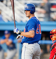 June 19, 2009:  Third Baseman Randy Schwartz of the Auburn Doubledays hits his first career home run during a game at Dwyer Stadium in Batavia, NY.  The Doubledays are the NY-Penn League Short-Season A affiliate of the Toronto Blue Jays.  Photo by:  Mike Janes/Four Seam Images