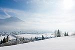 Deutschland, Bayern, Oberallgaeu, Oberstdorf vor den Allgaeuer Alpen | Germany, Bavaria, Upper Allgaeu, Oberstdorf with Allgaeu Alps