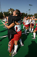 6 November 2007: Stanford Cardinal Madison Bell and Hillary Braun during Stanford's 1-0 win against the Lock Haven Lady Eagles in an NCAA play-in game to advance to the NCAA tournament at the Varsity Field Hockey Turf in Stanford, CA.