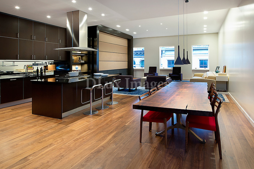 Modern living room with open plan kitchen