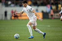 LOS ANGELES, CA - MARCH 01: Robbie Robinson #19 of Inter Miami CF dribbles the ball during a game between Inter Miami CF and Los Angeles FC at Banc of California Stadium on March 01, 2020 in Los Angeles, California.